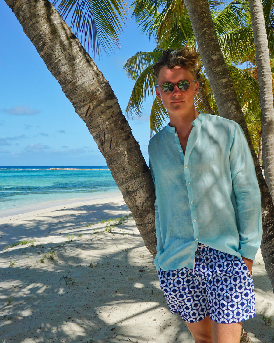 Mens Collarless Linen Shirt : PALE BLUE. Designer Lotty B for Pink House Mustique. Exclusive Mens resort wear