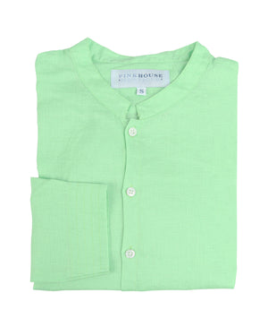 Mens Collarless Linen Shirt : Pistachio Green. Designer Lotty B for Pink House Mustique