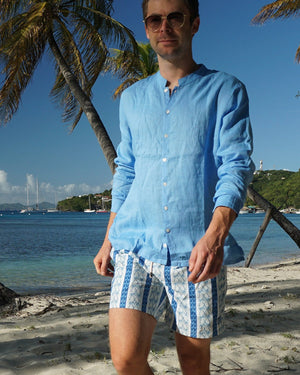 Mens Collarless Linen Shirt : FRENCH BLUE Mustique beach lifestyle Britannia Bay
