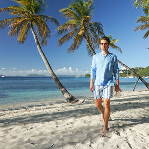 Mens swim trunks : PALM STRIPE - NAVY Britannia Bay Mustique