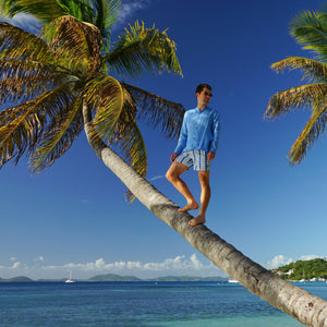 Mens swim trunks : PALM STRIPE - NAVY climbing Palm trees, Britannia Bay Mustique