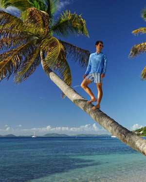 Mens Collarless Linen Shirt : FRENCH BLUE climbing the palm trees Mustique