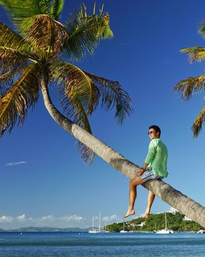 Mens Collarless Linen Shirt : Pistachio Green climbing palm trees Britannia Bay Mustique