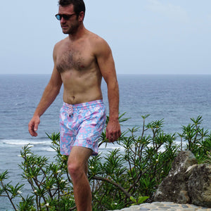 Mens swim trunks : MERMAID - PINK / BLUE
