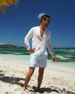 Mens Collarless Linen Shirt : CLASSIC WHITE Mustique family vacation style Macaroni beach