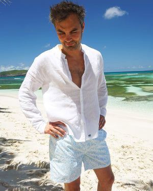 Mens Collarless Linen Shirt : CLASSIC WHITE Mustique family holiday style Macaroni beach