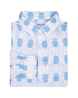 Mens Linen Shirt: BEETLE - BLUE