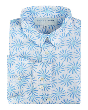 Mens Linen Shirt : CACTUS - BLUE