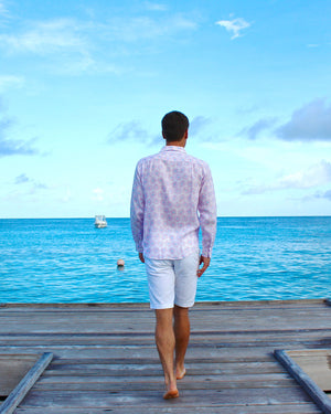 Mens Linen Shirt : CACTUS - PINK (Pontoon back)
