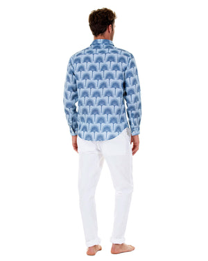 Mens Linen Shirt : FAN PALM NAVY/ PALE BLUE, back