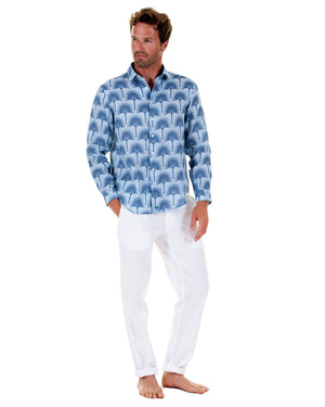 Mens Linen Shirt : FAN PALM NAVY/ PALE BLUE, front