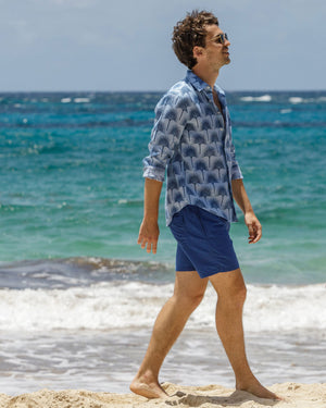 Mens Linen Shirt : FAN PALM NAVY/ PALE BLUE, Mustique beach life