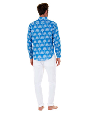 Mens Linen Shirt : FAN PALM PALE BLUE / MID BLUE, back