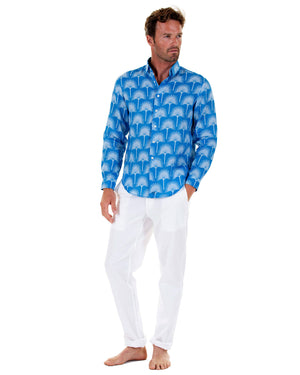 Mens Linen Shirt : FAN PALM PALE BLUE / MID BLUE, front