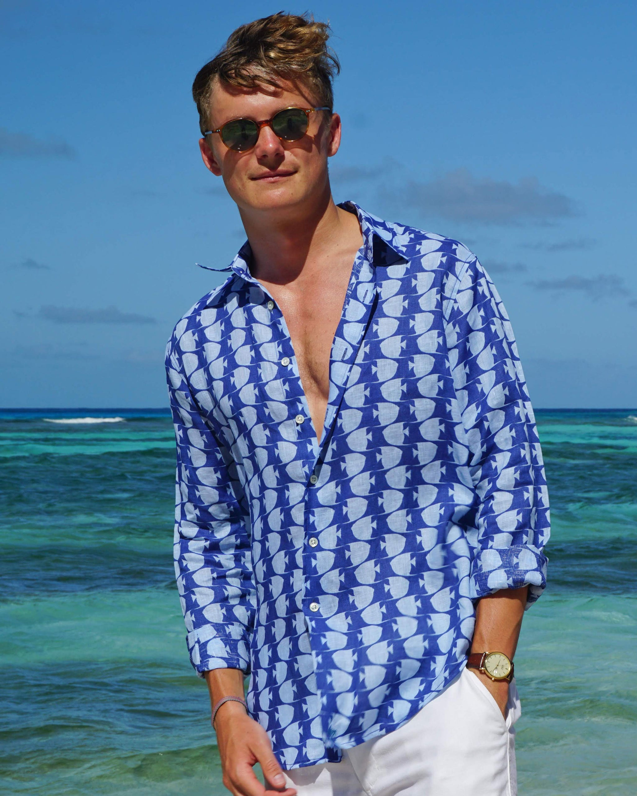 92a0c08f639a1 Mens Linen Shirt : FISH - AIRFORCE BLUE. Designer Lotty B for Pink House  Mustique