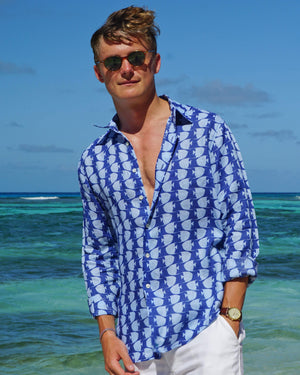 Mens Linen Shirt : FISH - AIRFORCE BLUE. Designer Lotty B for Pink House Mustique menswear summer style
