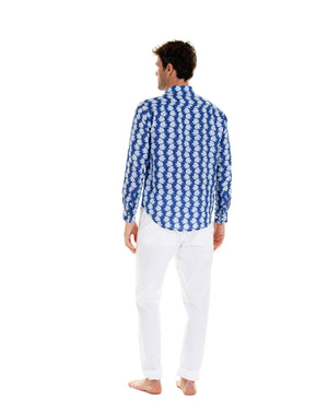 Mens Linen Shirt : FISH - AIRFORCE BLUE designer holiday style by Lotty B Mustique