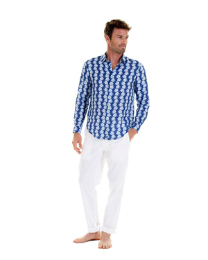 Mens Linen Shirt : FISH - AIRFORCE BLUE designer Resortwear by Lotty B Mustique