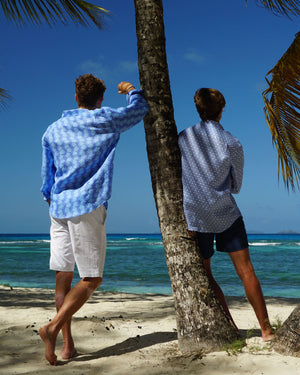 Mens Linen Shirt : FISH - TURQUOISE designer Lotty B for Pink House Mustique mens beach style