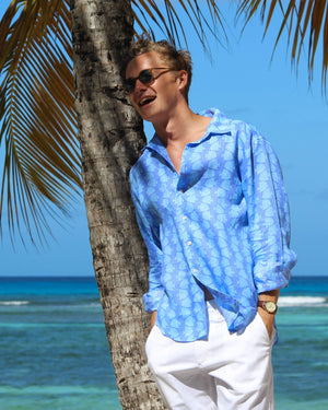 Mens Linen Shirt : FISH - TURQUOISE designer Lotty B for Pink House Mustique casual holiday style