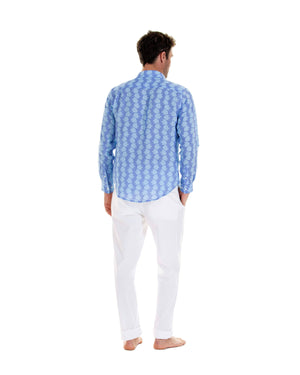 Mens Linen Shirt : FISH - TURQUOISE designer linen shirts by Lotty B Mustique