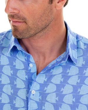 Mens Linen Shirt : FISH - TURQUOISE collar detail designed by Lotty B Mustique