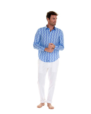 Mens Linen Shirt : FISH - TURQUOISE designer vacation styles by Lotty B Mustique