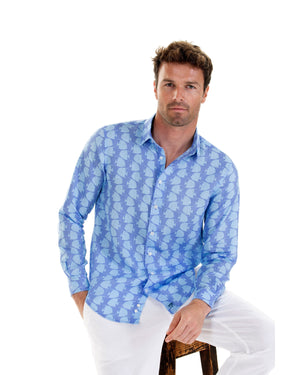 Mens Linen Shirt : FISH - TURQUOISE designer holiday styles by Lotty B Mustique