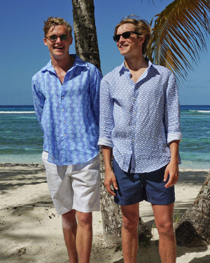 Mens Linen Shirt : FISH - TURQUOISE designer Lotty B for Pink House Mustique mens resort wear