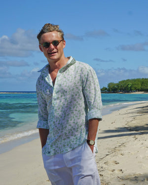 Mens Linen Shirt : FLAMBOYANT - GREEN designer menswear by Lotty B Mustique holiday wear