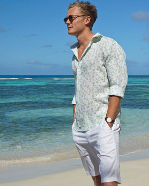Mens Linen Shirt : FLAMBOYANT - GREEN designer menswear by Lotty B Mustique holiday style