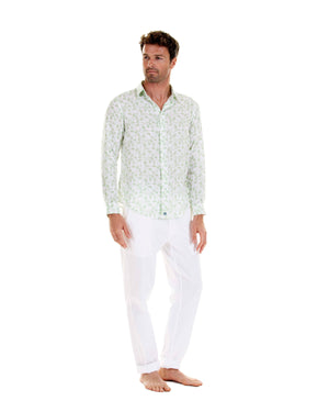 Mens Linen Shirt : FLAMBOYANT - GREEN designer menswear by Lotty B Mustique