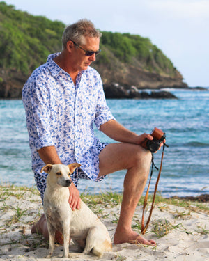 Mens Linen Shirt : FLAMBOYANT - NAVY BLUE designer menswear by Lotty B Mustique vacation style