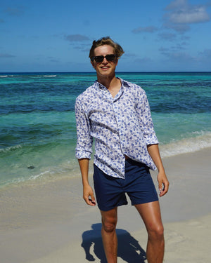 Mens Linen Shirt : FLAMBOYANT - NAVY BLUE designer menswear by Lotty B Mustique holiday style