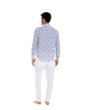 Mens Linen Shirt : FLAMBOYANT - NAVY BLUE designer menswear by Lotty B Mustique summer style