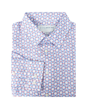 Mens Linen Shirt : LIFE RING - BLUE / RED