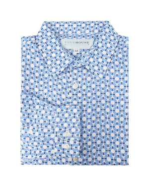 Mens Linen Shirt : LIFE RING - NAVY