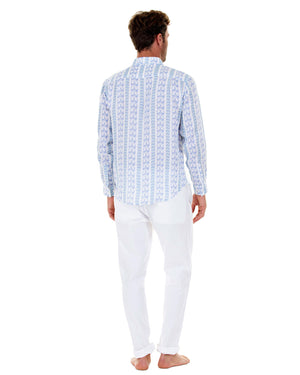 Mens Linen Shirt : M PALM STRIPE Navy, back