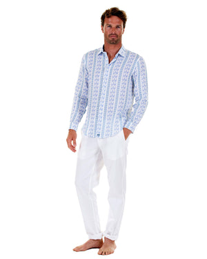 Mens Linen Shirt : M PALM STRIPE Navy, front