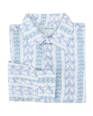 Mens Linen Shirt : M PALM STRIPE Navy