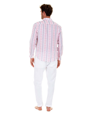 Mens Linen Shirt : LOGO STRIPE RED back
