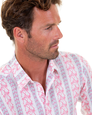 Mens Linen Shirt : M PALM STRIPE RED, collar