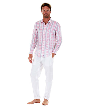 Mens Linen Shirt : LOGO STRIPE RED front