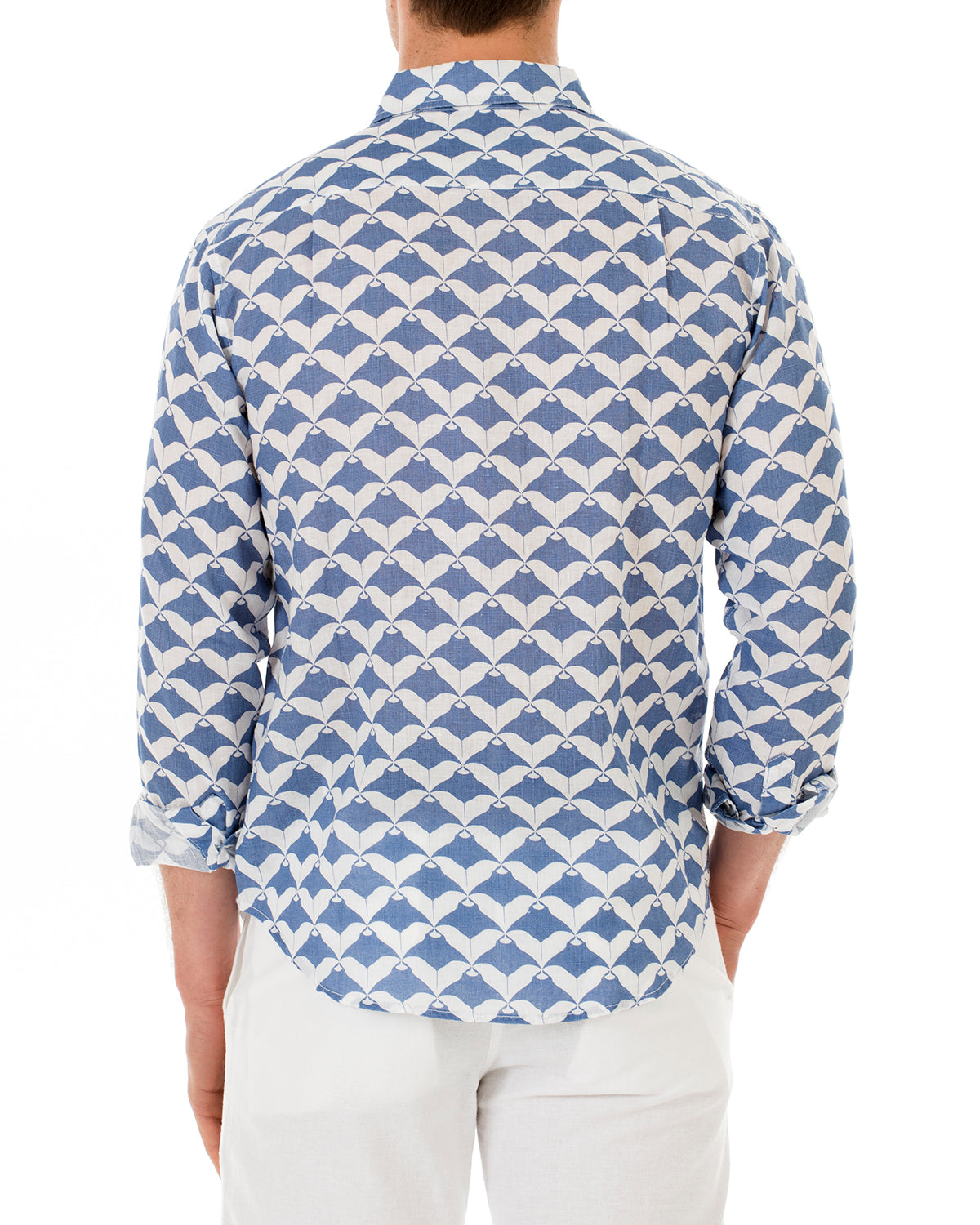 Mens Linen Shirt : MANTA RAY - NAVY back