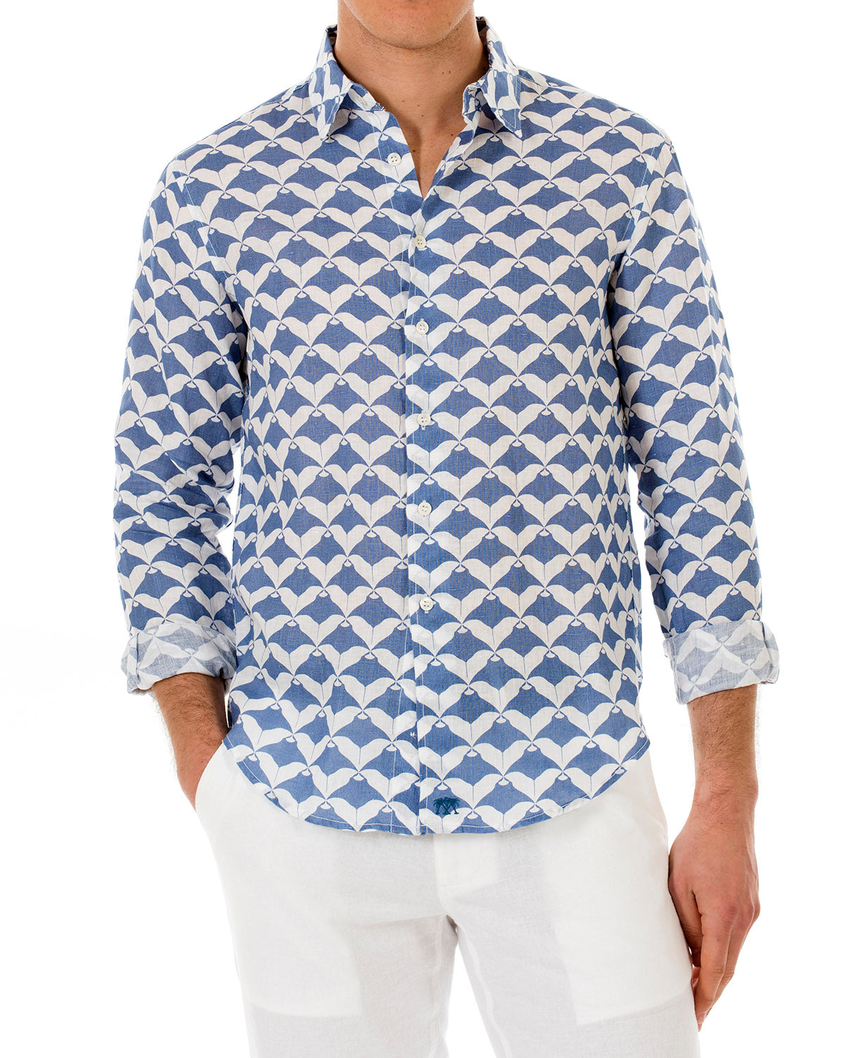 Mens Linen Shirt : MANTA RAY - NAVY front