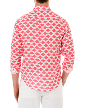 Mens Linen Shirt : MANTA RAY - RED back