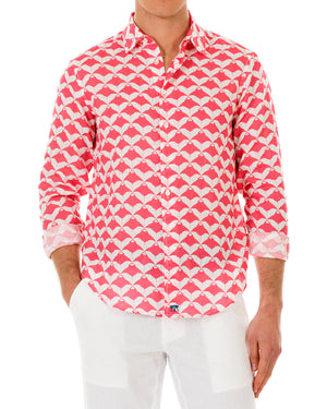 Mens Linen Shirt : MANTA RAY - RED front