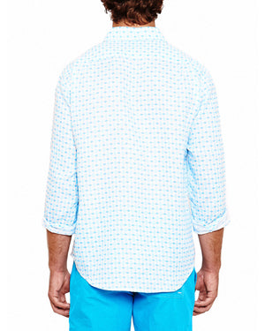 Mens Linen Shirt (Marrakech Blue) Back