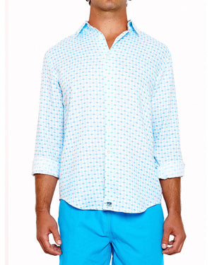 Mens Linen Shirt (Marrakech Blue) Front