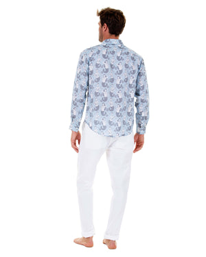 Mens Linen Shirt : MERMAID GREY / PALE BLUE Caribbean style worn with white linen trousers back